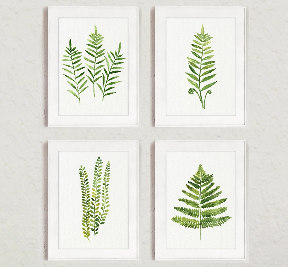 Fern Painting Green Abstract Leaf Watercolor Print Set Of 4 Leaves For Most Current Abstract Leaves Wall Art (View 12 of 20)