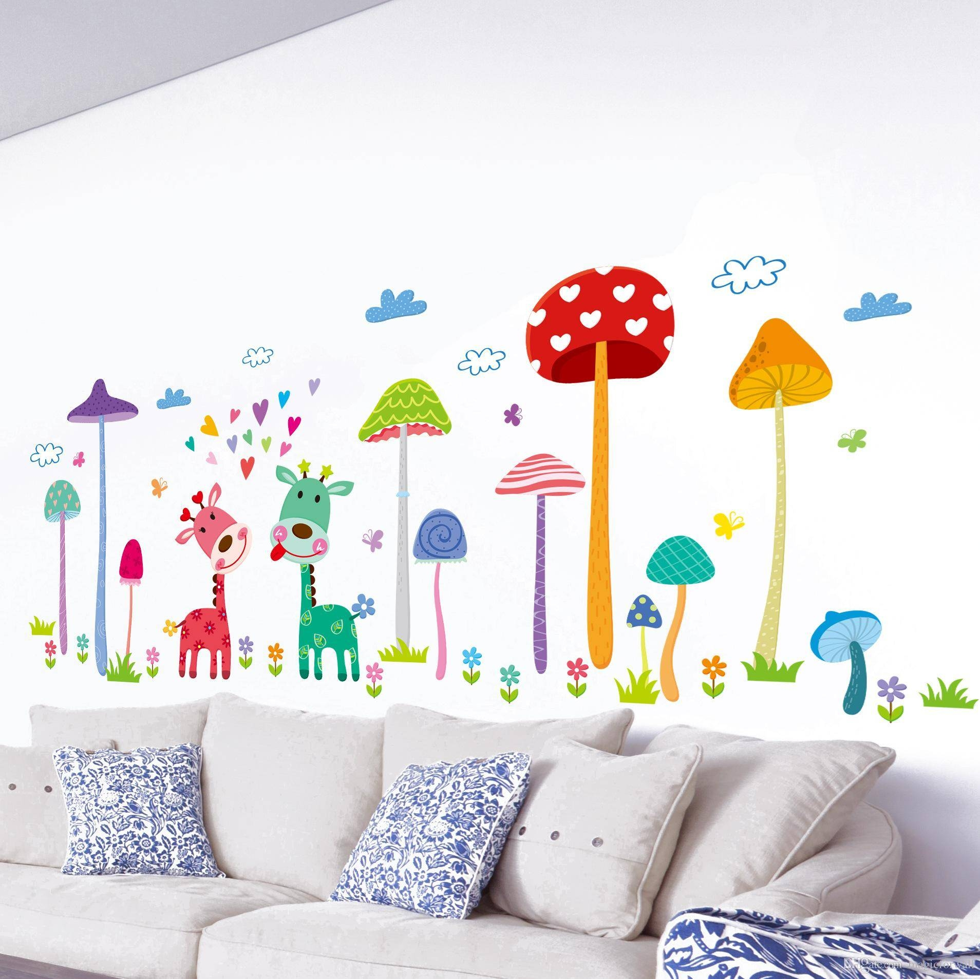 Forest Mushroom Deer Animals Home Wall Art Mural Decor Kids Babies In Current Nursery Animal Wall Art (Gallery 8 of 20)