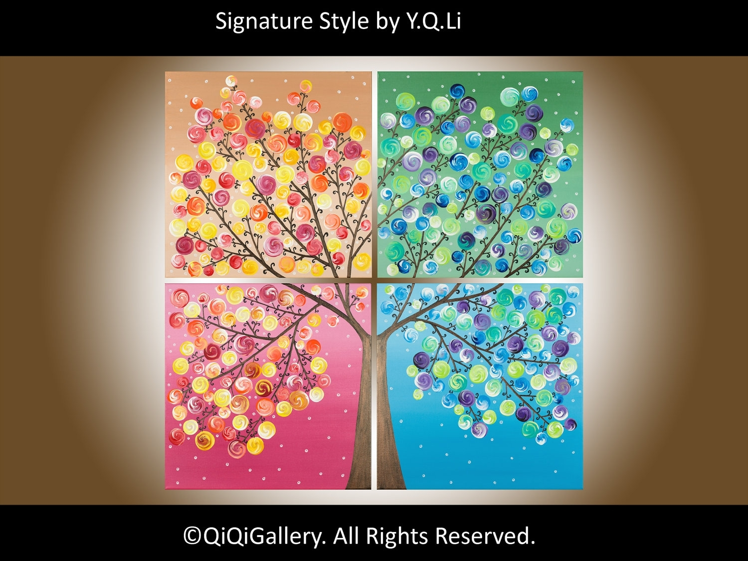 "Four Seasons Painting – Large 36"" Square Original Modern Art On Throughout Newest Happiness Abstract Wall Art (View 8 of 20)"