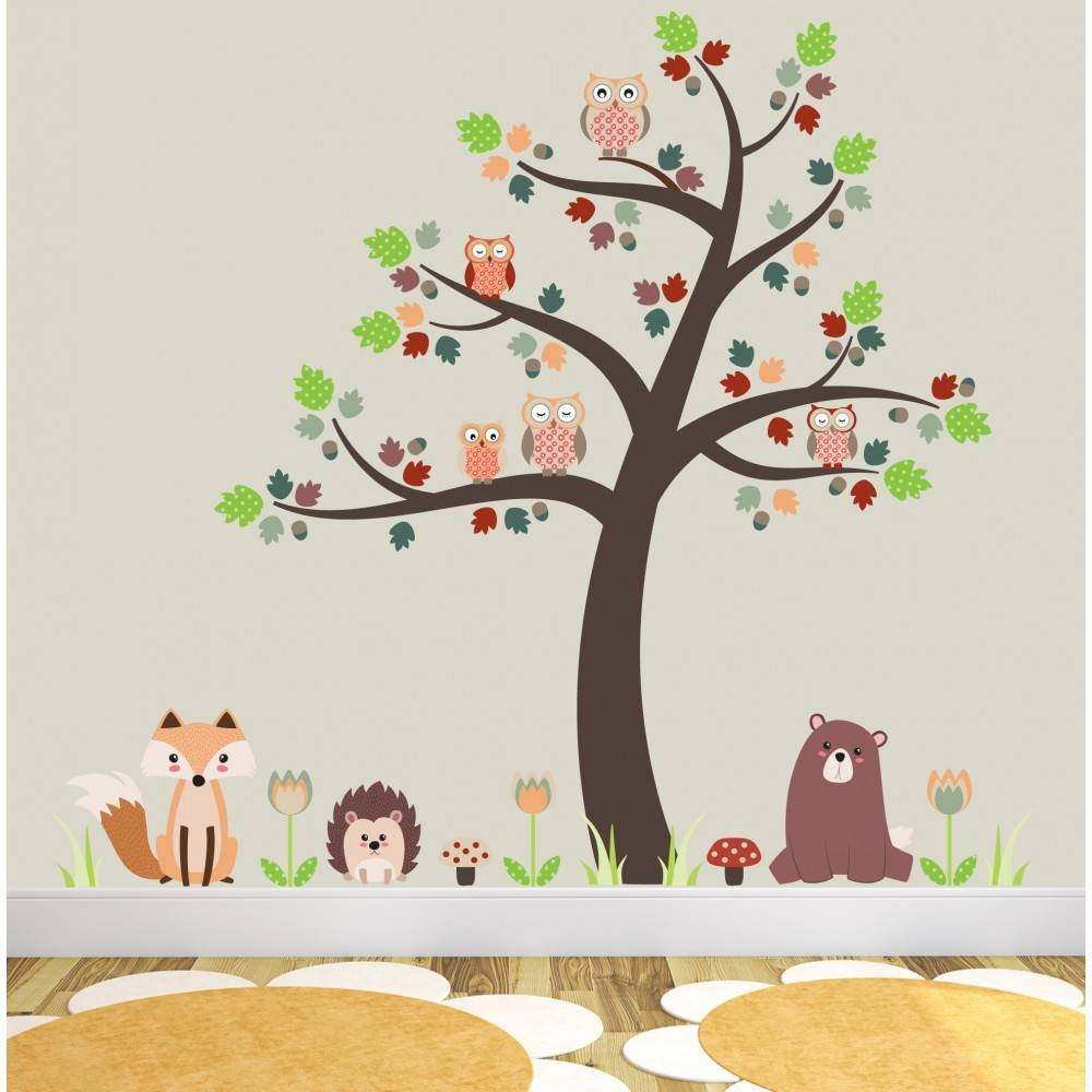 Fox And Owls Nursery Wall Stickers Within Most Up To Date Woodland Animal Wall Art (View 3 of 20)