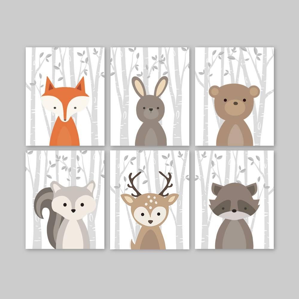 Fox Animal Wall Art Nursery Decor Woodland Nursery Forest Intended For Recent Animal Wall Artfor Nursery (View 9 of 20)