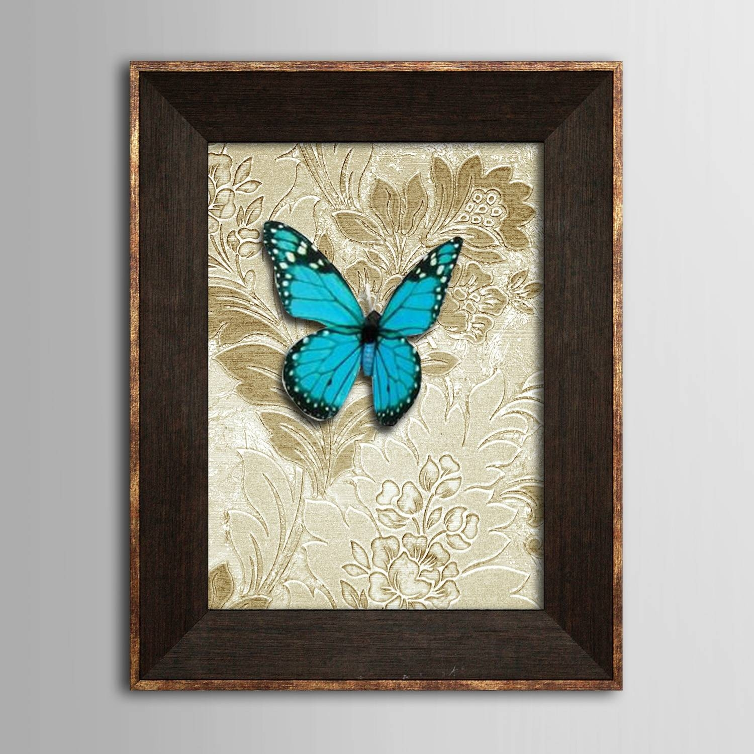 Framed 3D Art Wall Art? Animal 3D Blue Butterflies? Wall Decor With Regard To Most Recent 3D Animal Wall Art (Gallery 12 of 20)
