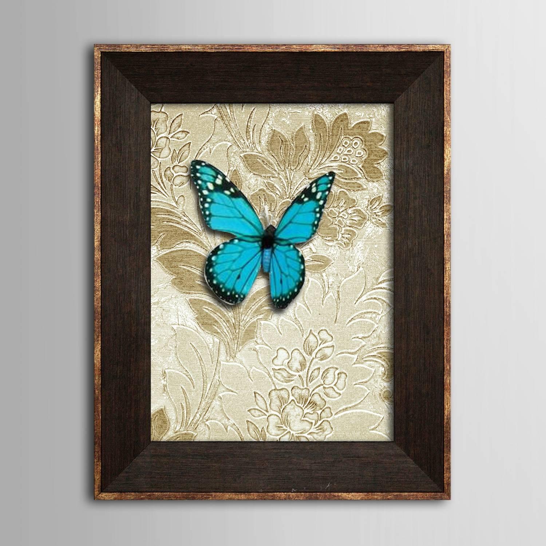 Framed 3D Art Wall Art? Animal 3D Blue Butterflies? Wall Decor With Regard To Most Recent 3DAnimal Wall Art (View 8 of 20)