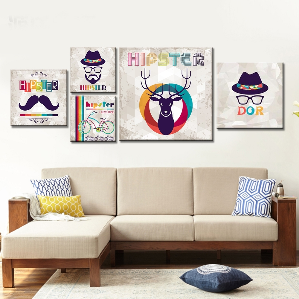 Frameless Moustache Canvas Painting Abstract Deer Wall Art Posters With Regard To 2017 Abstract Deer Wall Art (View 7 of 20)
