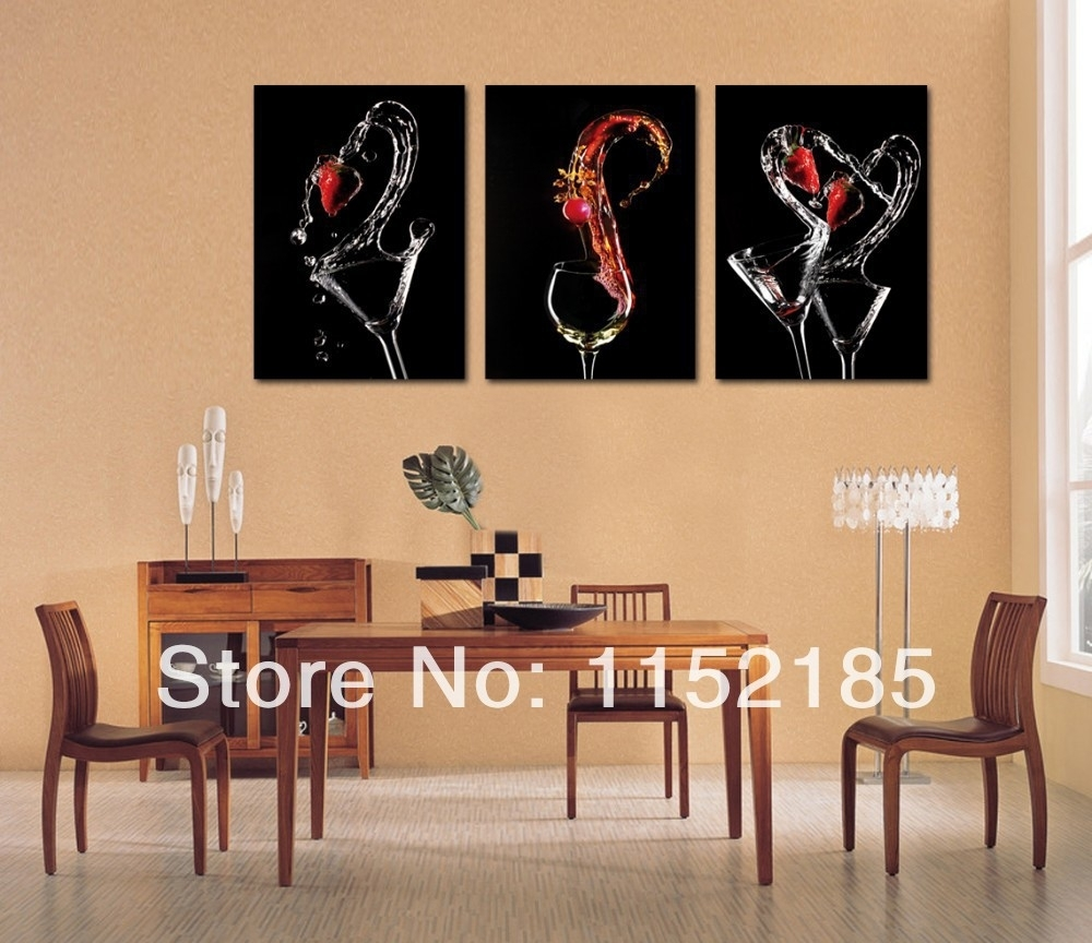 Free Shipping Black Wine Glasses Abstract Still Life3 Piece Canvas Intended For 2017 Abstract Wall Art For Dining Room (View 2 of 20)