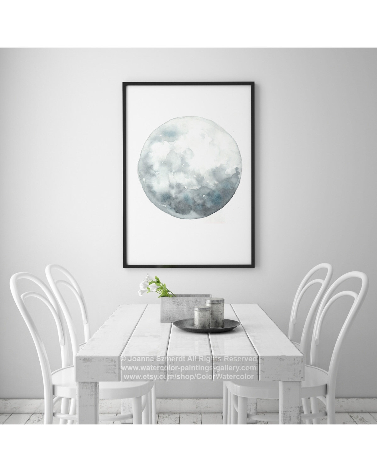 Full Moon Art, Luna Watercolor Painting, Blue Wall Decor, Gray Pertaining To Best And Newest Abstract Calendar Art Wall (View 16 of 20)