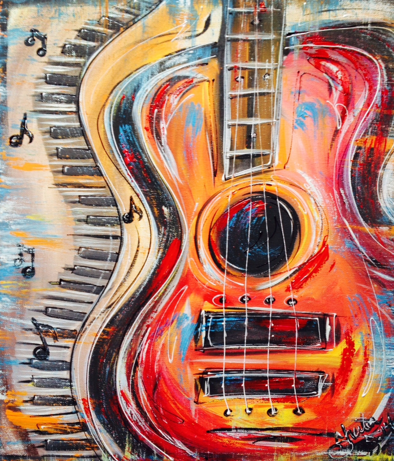 Funky Abstract, Colorful Guitar And Keyboard, With Music Notes Pertaining To Newest Abstract Musical Notes Piano Jazz Wall Artwork (View 4 of 20)