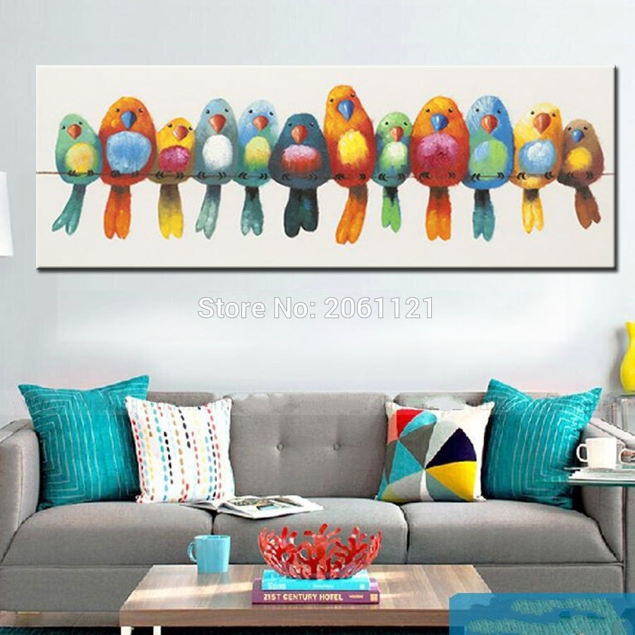 Funny Hand Painted Canvas Oil Painting Colorful Birds Canvas Art With Regard To 2018 Abstract Bird Wall Art (View 5 of 20)