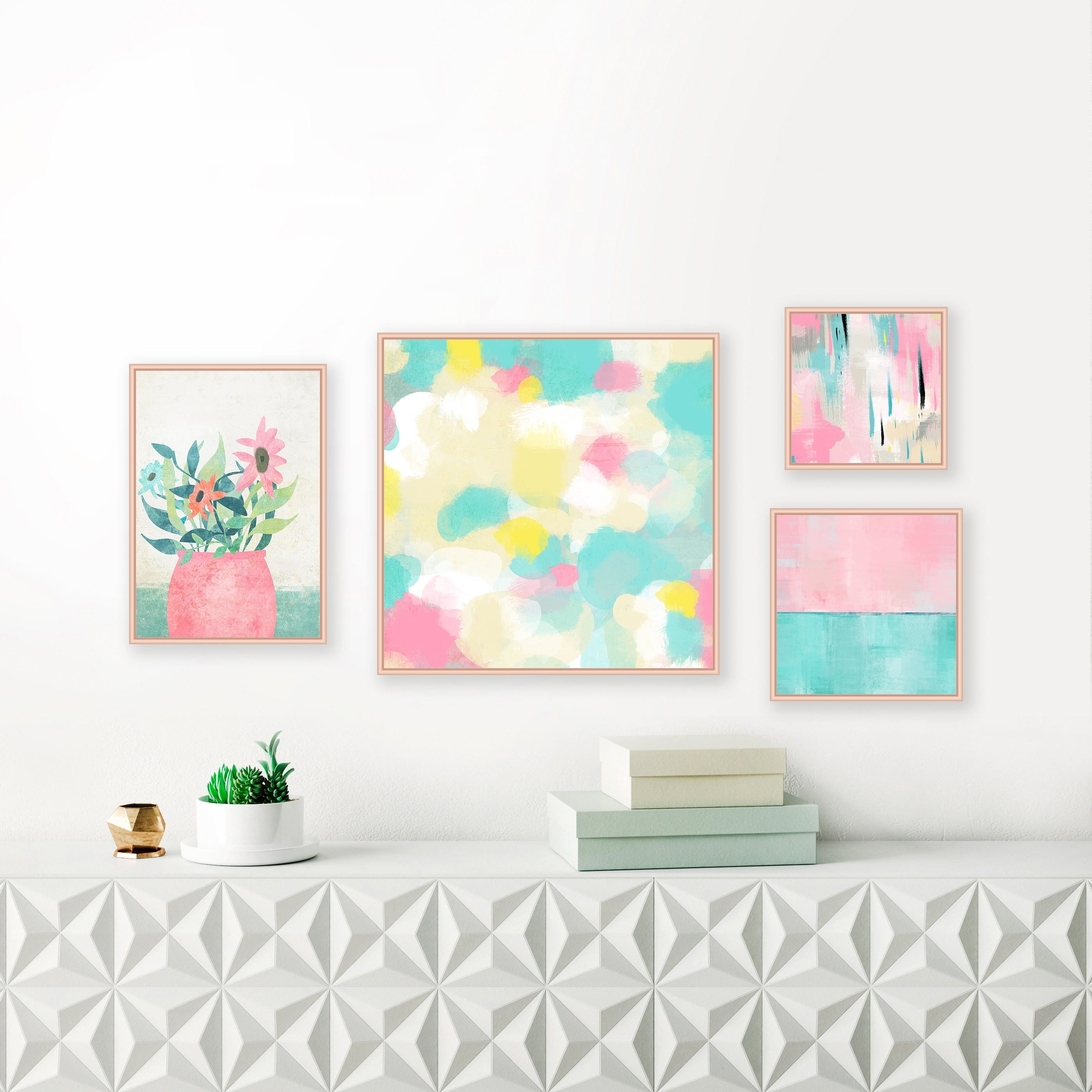 Gallery Wall Art, Set Of 4 Abstract Art Prints, Pastel Paintings Intended For Most Current Pastel Abstract Wall Art (Gallery 1 of 20)