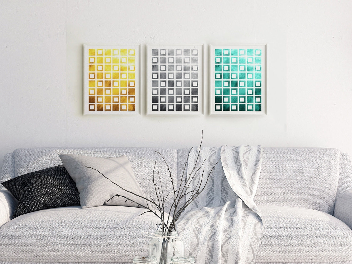 Geometric Print Set Download, 3 Piece Abstract Wall Decor Throughout Newest Printable Abstract Wall Art (Gallery 8 of 20)