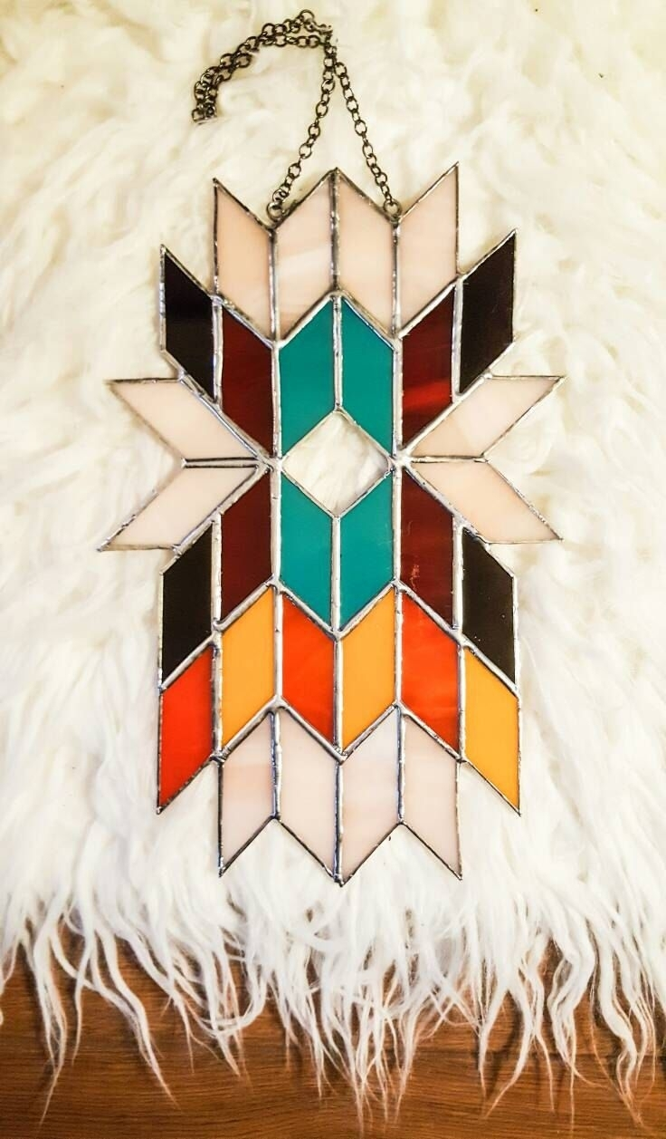 Geometric Wall Art, Abstract Art, Stained Glass Panel, Tiffany Pertaining To Recent Abstract Fused Glass Wall Art (View 7 of 20)