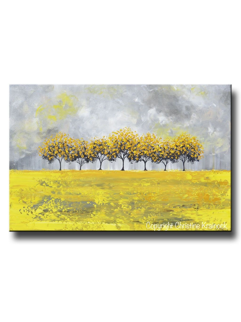 Giclee Print Art Abstract Yellow Grey Painting Tree Landscape Inside Latest Abstract Horizon Wall Art (View 6 of 20)