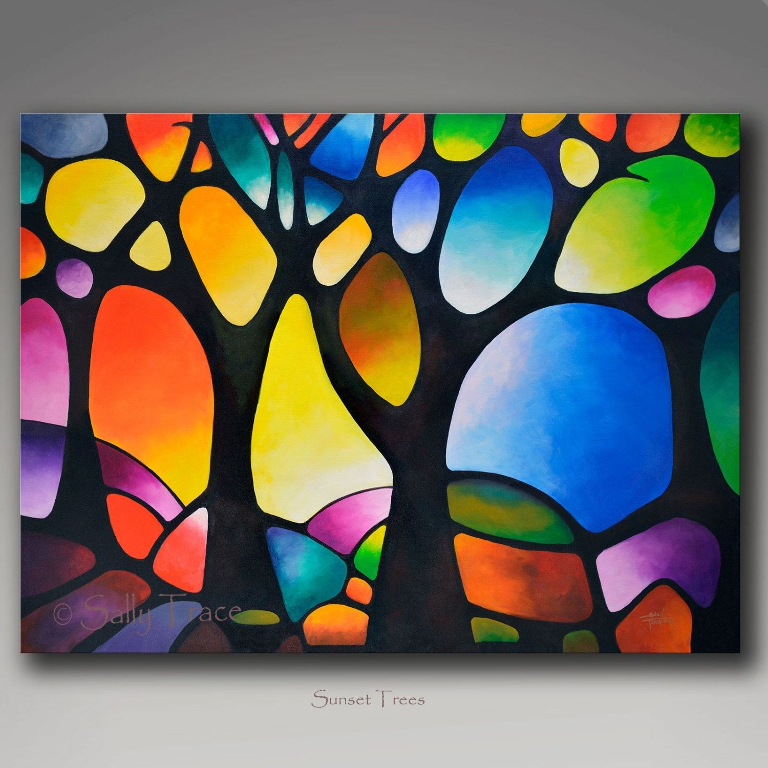 Giclee Print On Canvas From My Abstract Tree Painting, Geometric Regarding 2017 Kindred Abstract Metal Wall Art (View 15 of 20)