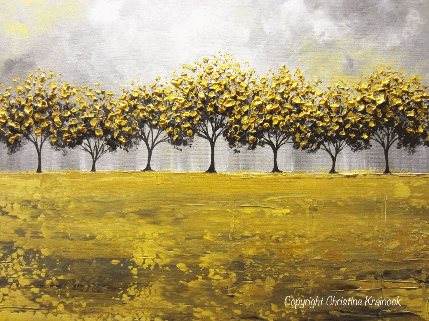 Giclee Prints Large Art Yellow Grey Abstract Tree Painting With Current Abstract Horizon Wall Art (View 7 of 20)