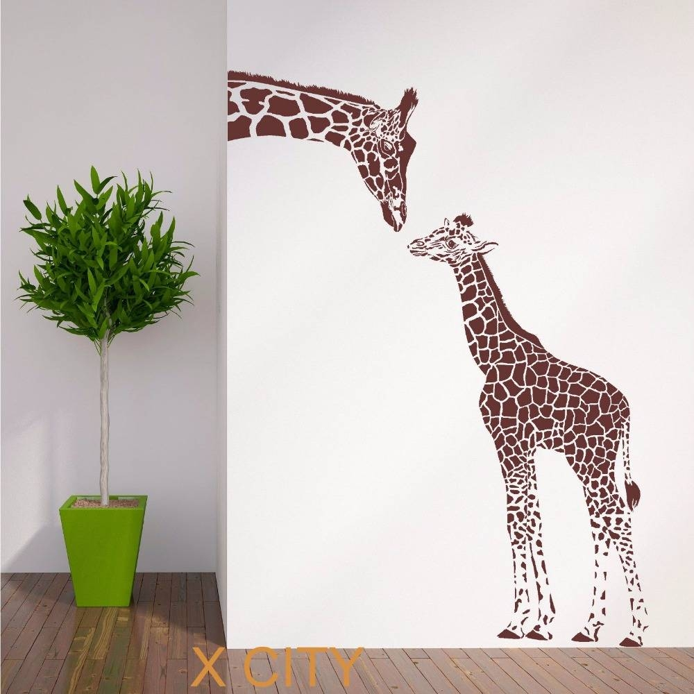 Giraffe And Baby African Animal Wall Sticker Vinyl Art Decal Pertaining To 2017 African Animal Wall Art (View 10 of 20)