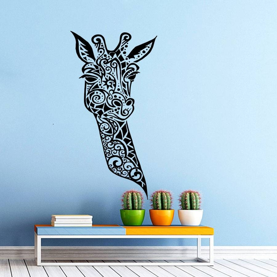 Giraffe Vinyl Wall Decal Giraffe Animals Jungle Safari African Pertaining To Most Up To Date African animal Wall Art (View 15 of 20)