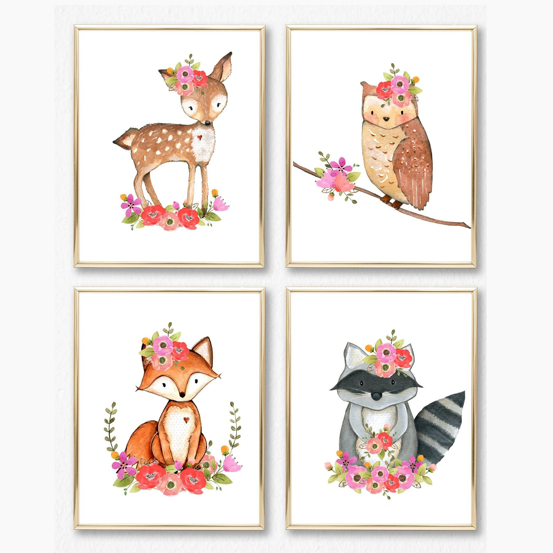 Girl Woodland Nursery Print Set. Girl Wall Art. Baby Girl. With Regard To Current Nursery Animal Wall Art (Gallery 17 of 20)