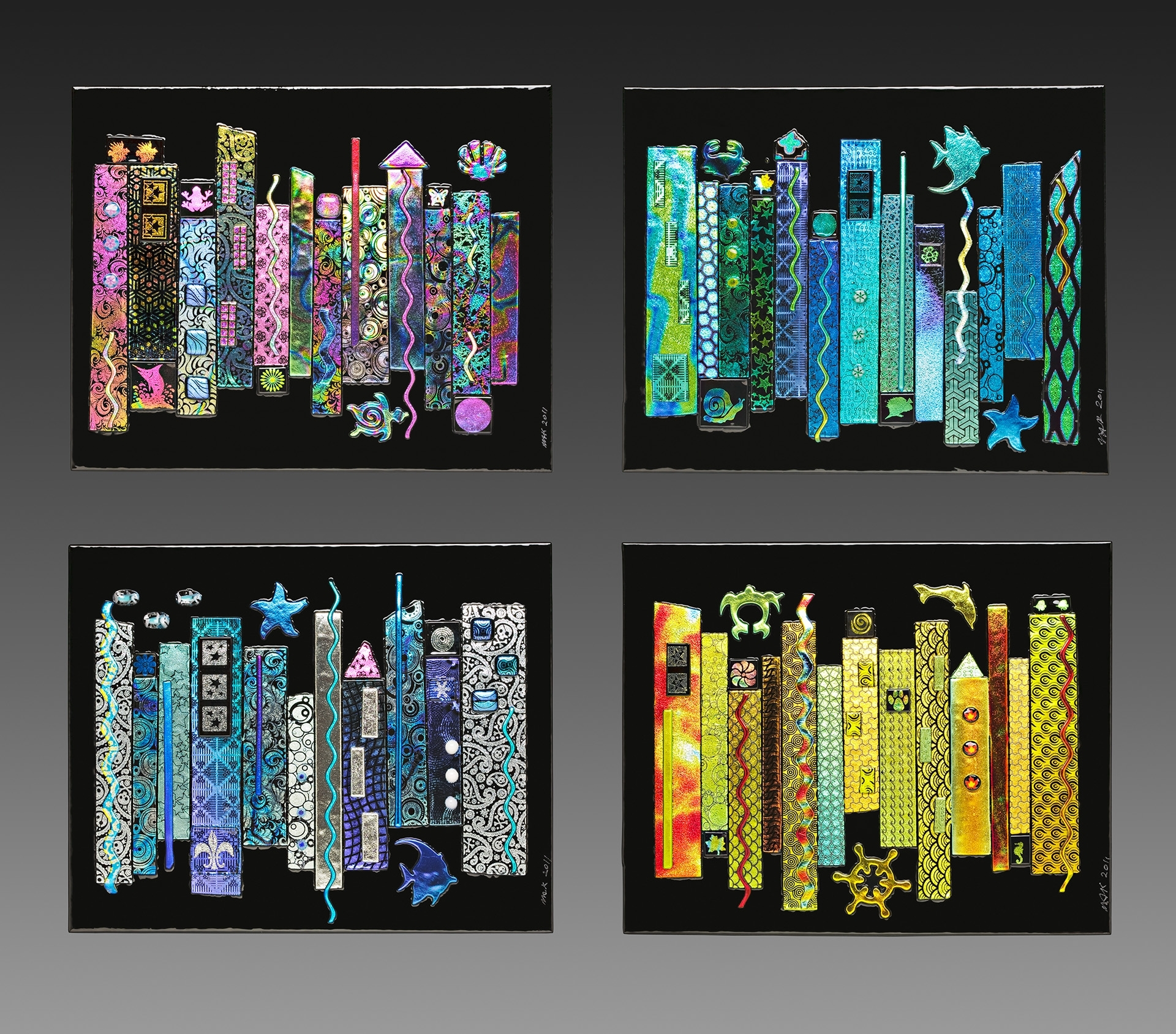 Glass For Sale | Jazz Seasons Dichroic Fused Glass 4 Panel Wall Inside Recent Abstract Fused Glass Wall Art (View 8 of 20)