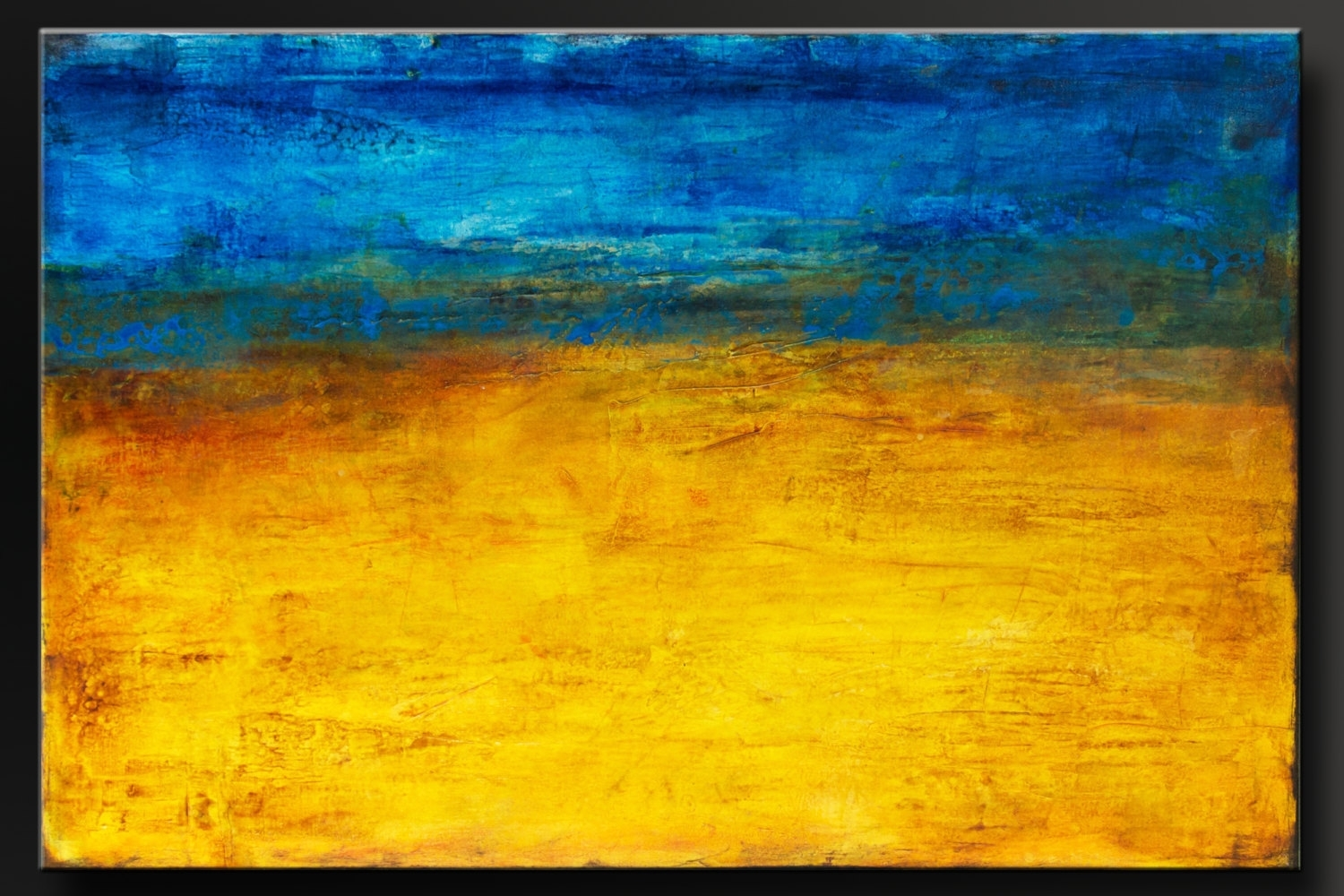 Golden Horizon – 36X24 – Abstract Acrylic Painting – Contemporary Within 2017 Abstract Horizon Wall Art (Gallery 9 of 20)