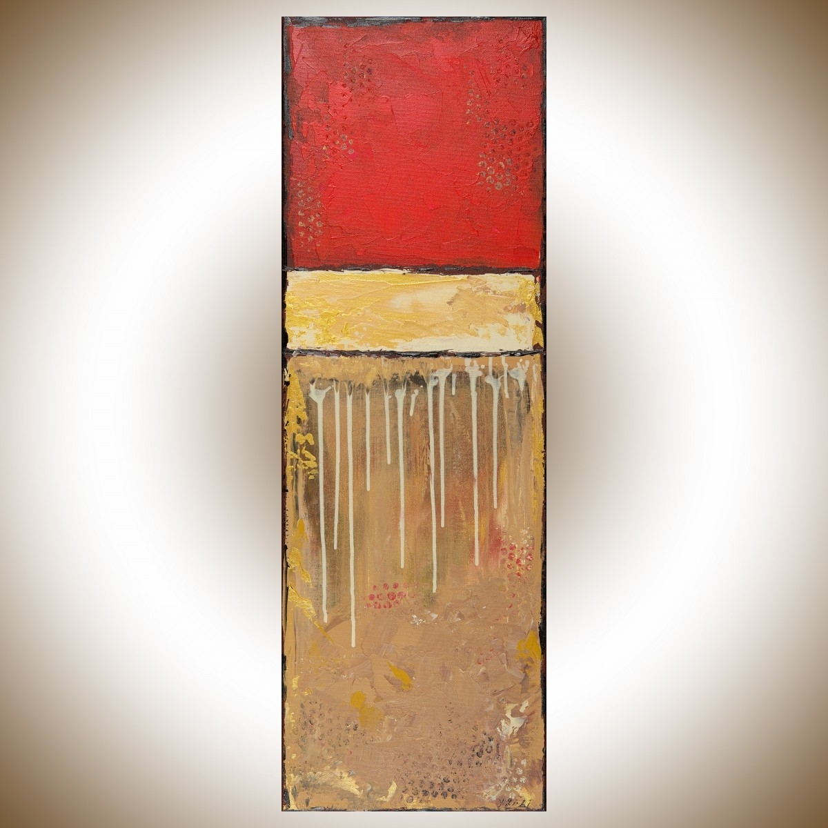 "Golden Luckqiqigallery 12"" X 36"" Original Modern Abstract Throughout Most Popular Abstract Landscape Wall Art (Gallery 7 of 20)"