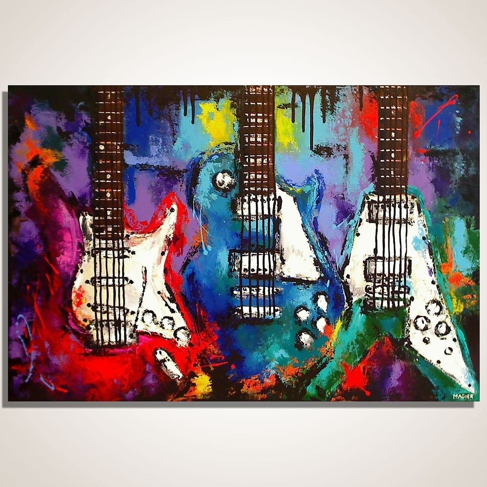 Guitar Painting On Canvas, Les Paul, Flying V, Strat, Original Throughout Most Current Abstract Musical Notes Piano Jazz Wall Artwork (Gallery 2 of 20)