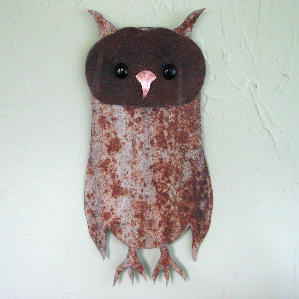 Hand Made Owl Wall Art Sculpture Recycled Metal Animal Wall Decor Throughout Recent Metal Animal Wall Art (View 10 of 20)