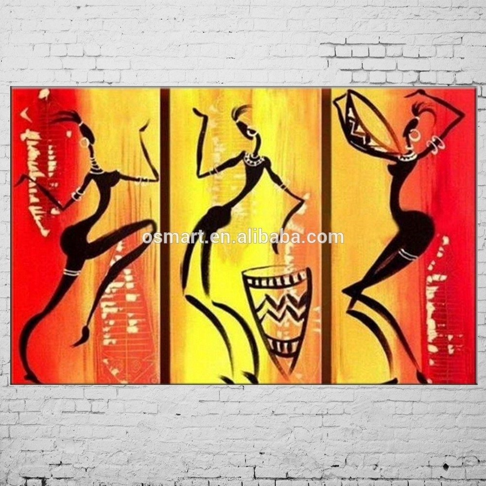Hand Painted Abstract African Women Painting Brush Oil Paintings Pertaining To Most Recent Abstract African Wall Art (View 8 of 20)