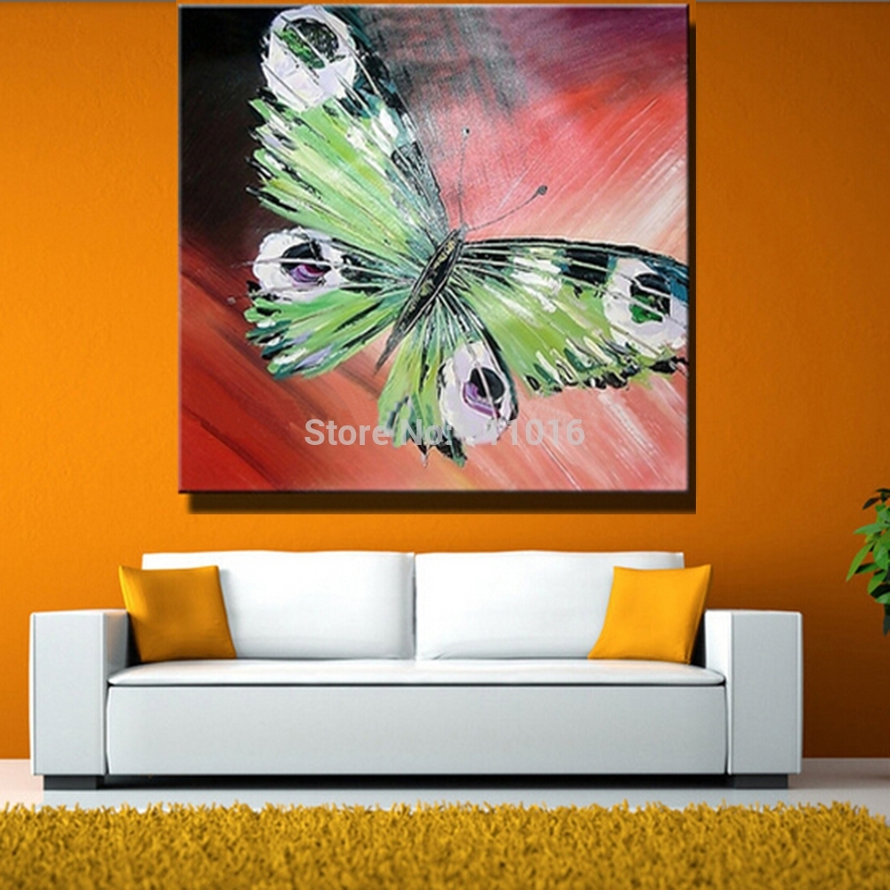 Hand Painted Abstract Butterfly Picture Home Decor Knife Oil Intended For Recent Abstract Butterfly Wall Art (View 10 of 20)