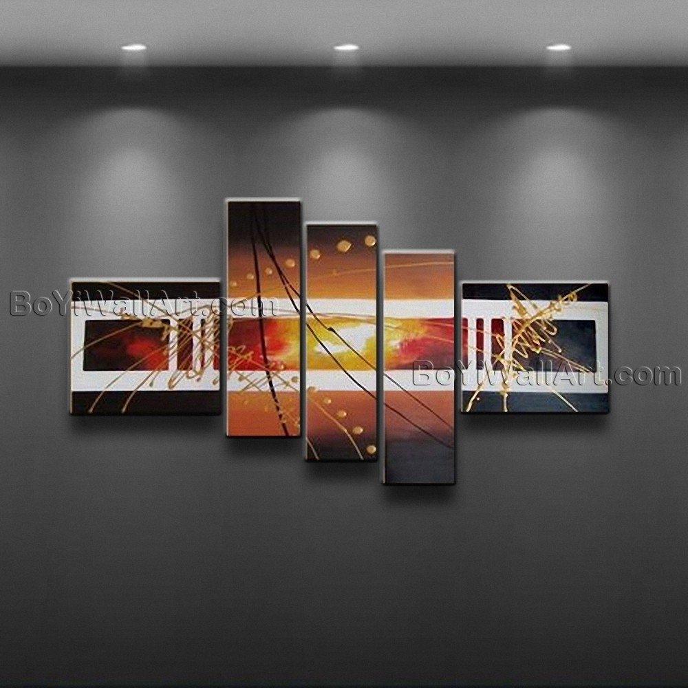 Hand Painted Abstract Painting Canvas Wall Art Framed 5 Pieces Intended For Best And Newest Large Framed Abstract Wall Art (Gallery 17 of 20)