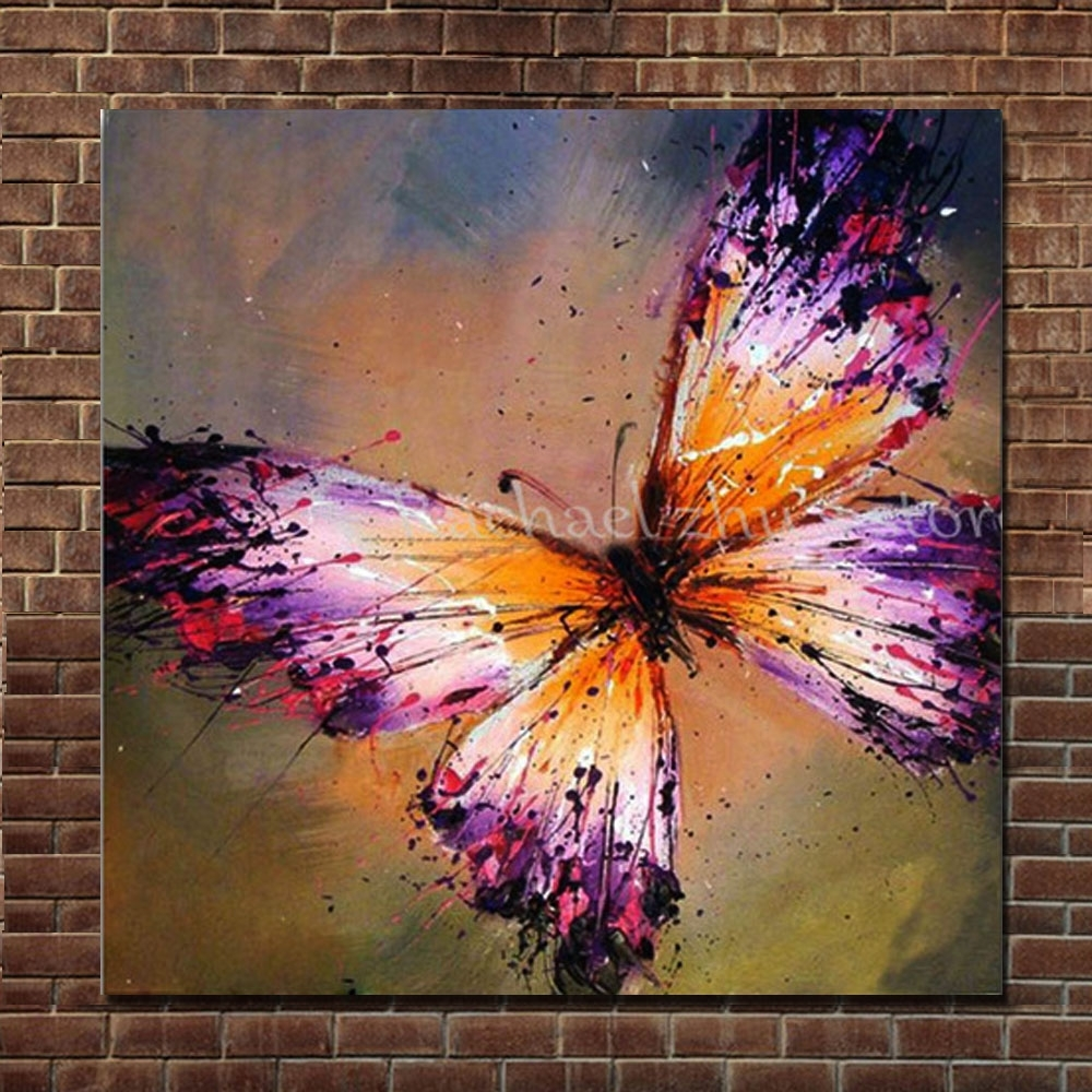 Hand Painted Abstract Purple Butterfly Oil Painting On Canvas With Regard To Most Current Abstract Butterfly Wall Art (View 7 of 20)