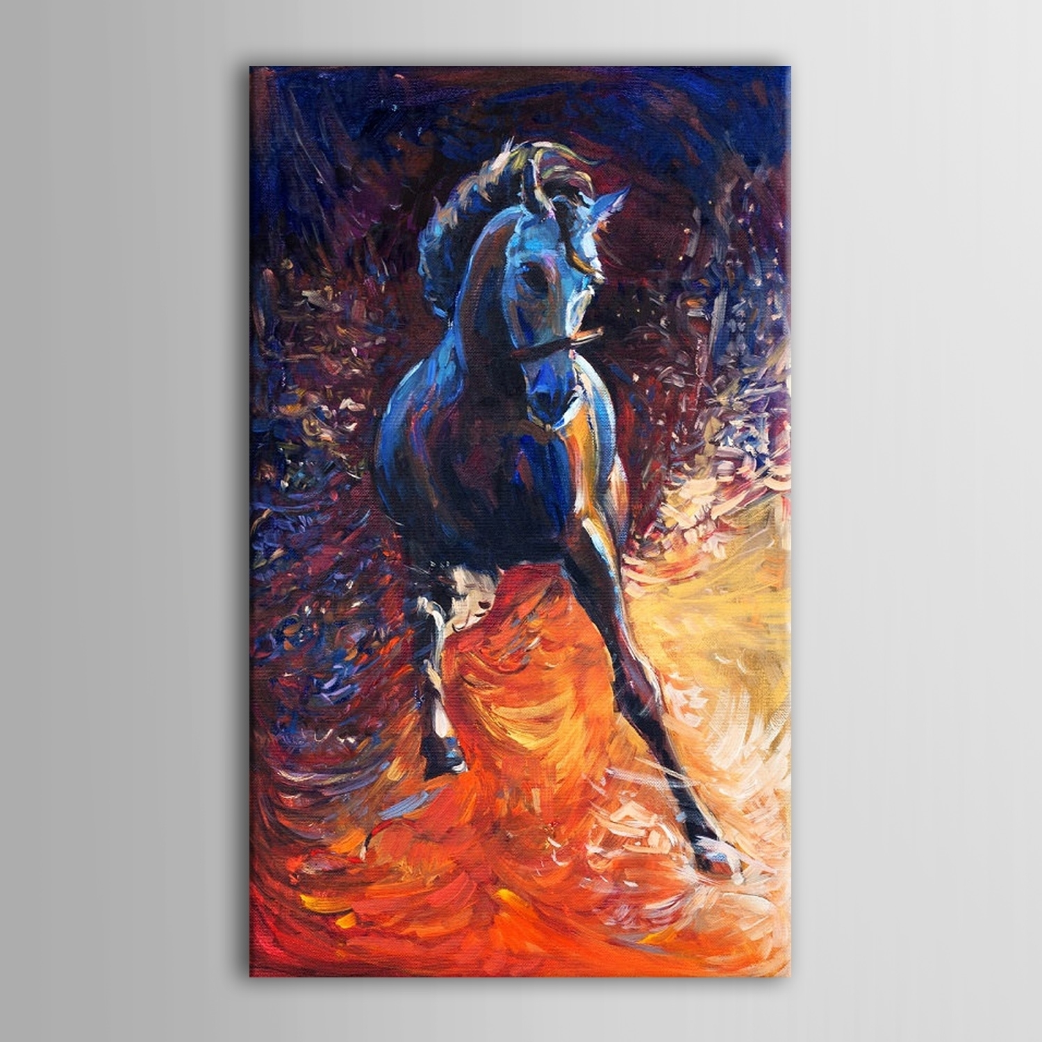 Hand Painted Beautiful Abstract Running Black Horse Oil Painting Within Most Current Abstract Horse Wall Art (View 13 of 20)