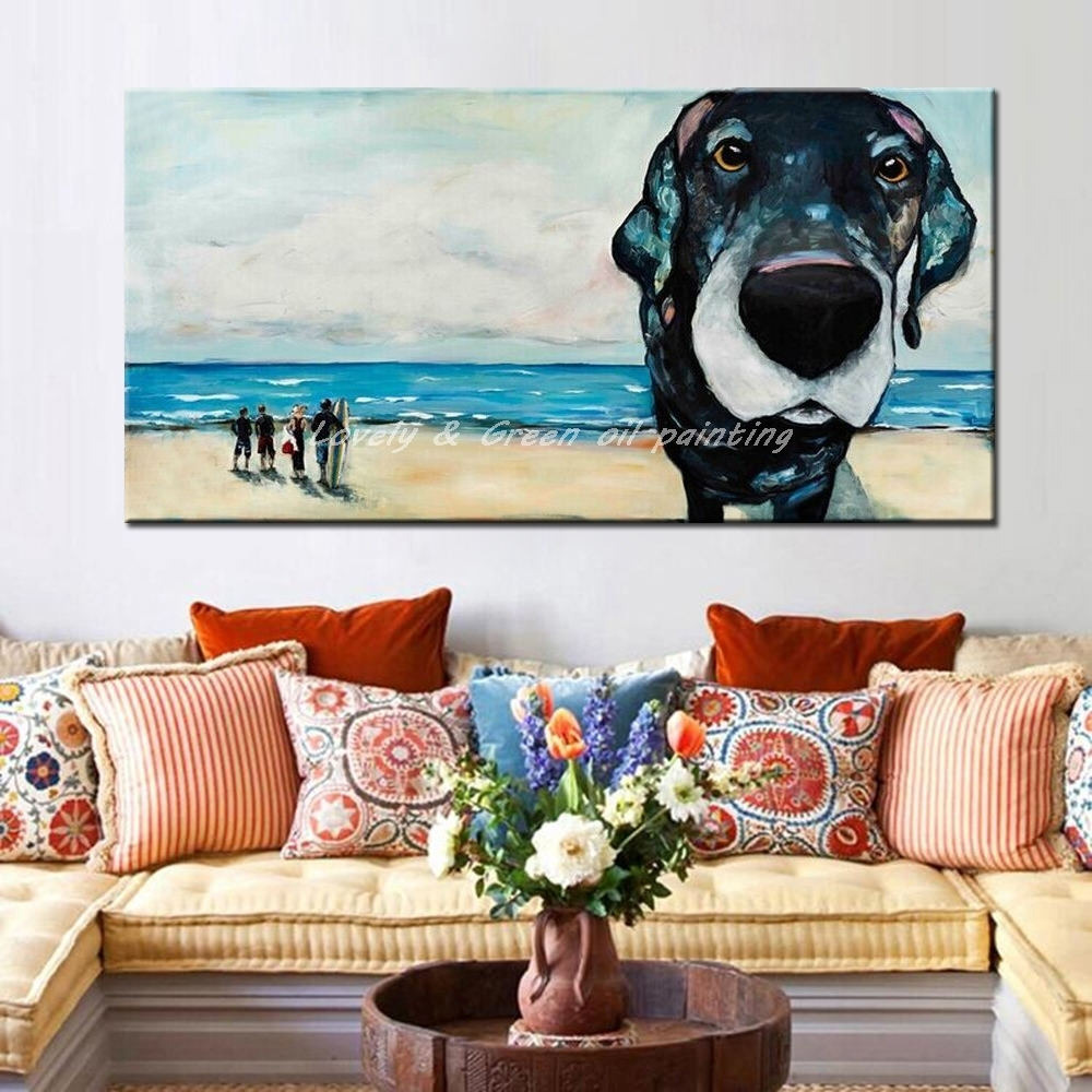 Hand Painted Canvas Oil Painting Modern Abstract Palette Knife Throughout Most Recent Abstract Dog Wall Art (View 18 of 20)