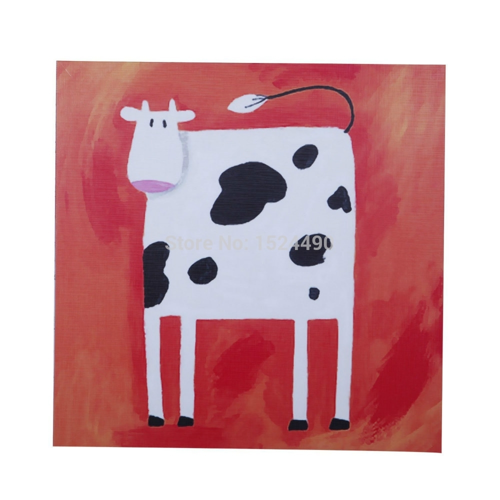 Hand Painted Cartoon Oil Painting On Canvas Abstract Animal Wall In Recent Abstract Animal Wall Art (Gallery 15 of 20)