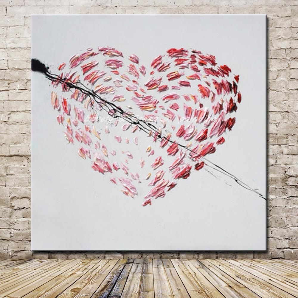 Hand Painted Cartoon Oil Painting On Canvas Modern Abstract Heart With Current Abstract Heart Wall Art (View 12 of 20)