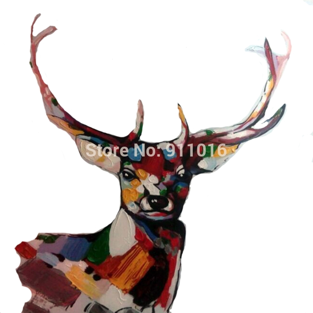 Hand Painted Knife Abstract Animal Deer Pictures Canvas Art Modern With Newest Abstract Deer Wall Art (View 10 of 20)
