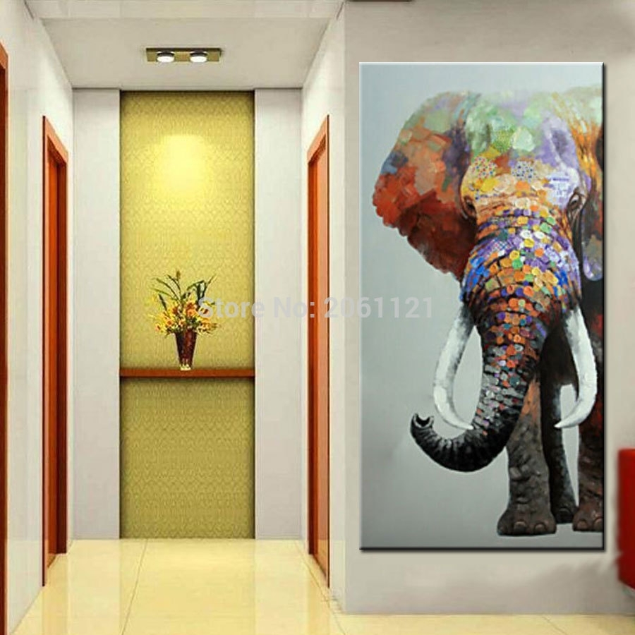 Hand Painted Large Big Elephant Wall Art Abstract Textured For Latest Abstract Elephant Wall Art (Gallery 3 of 20)