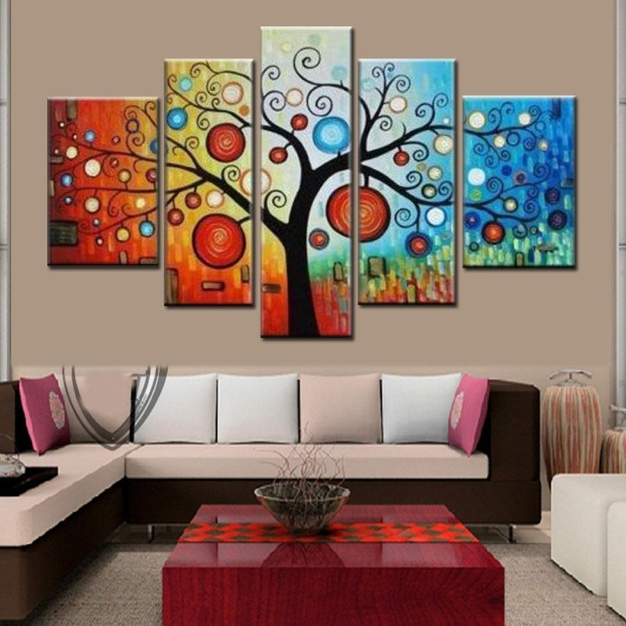 Hand Painted Modern Abstract Apple Tree Oil Painting On Canvas Inside Most Recent Modern Abstract Oil Painting Wall Art (View 4 of 20)