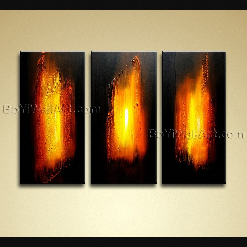 Hand Painted Modern Abstract Painting On Canvas Wall Art 3 Panels Regarding Best And Newest Abstract Canvas Wall Art Iii (Gallery 19 of 20)
