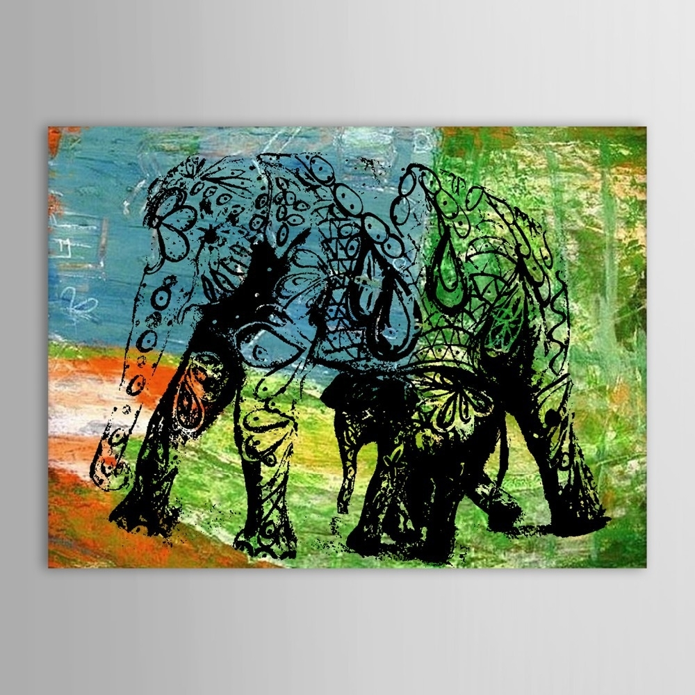 Hand Painted Oil Painting Animal Abstract Elephant Wall Picture In Current Abstract Elephant Wall Art (View 13 of 20)