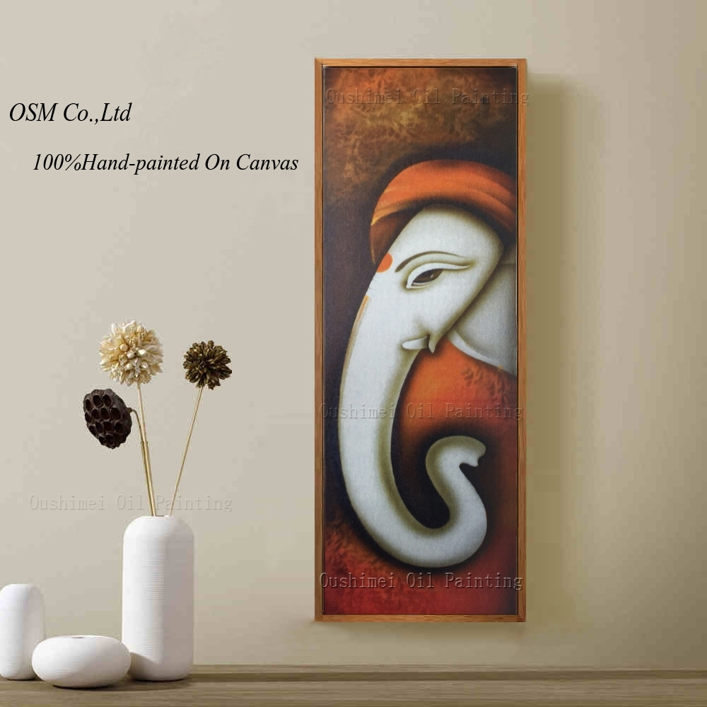 Hand Painted Picture Canvas Painting On Wall Pictures For Living In Latest Abstract Ganesha Wall Art (View 13 of 20)