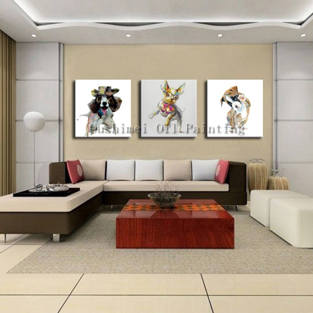 Hand Painted Picture On Canvas Modern Dog Animal Wall Art Painting With 2018 Animal Wall Art Canvas (Gallery 7 of 20)