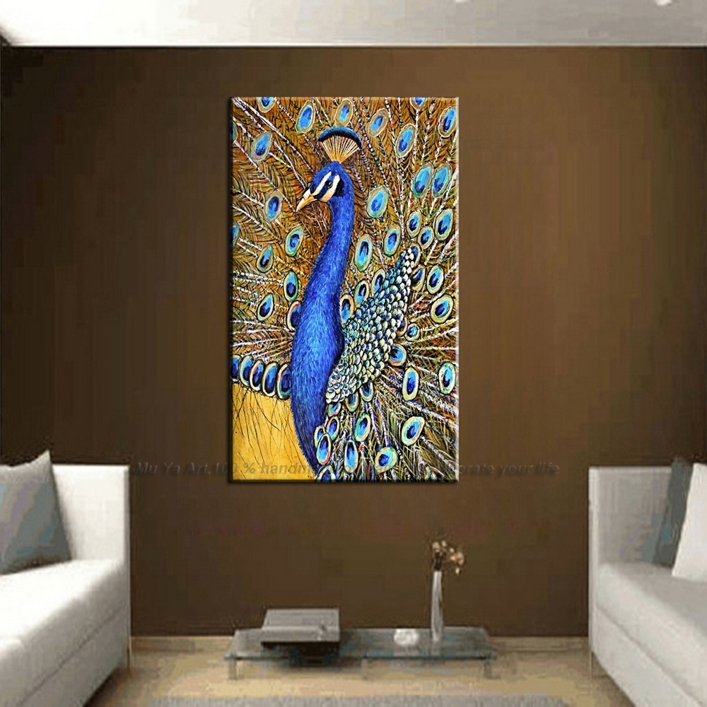 Handmade Animal Colorful Peacock Canvas Abstract Wall Art Picture Pertaining To Most Up To Date Abstract Wall Art Canvas (Gallery 10 of 20)