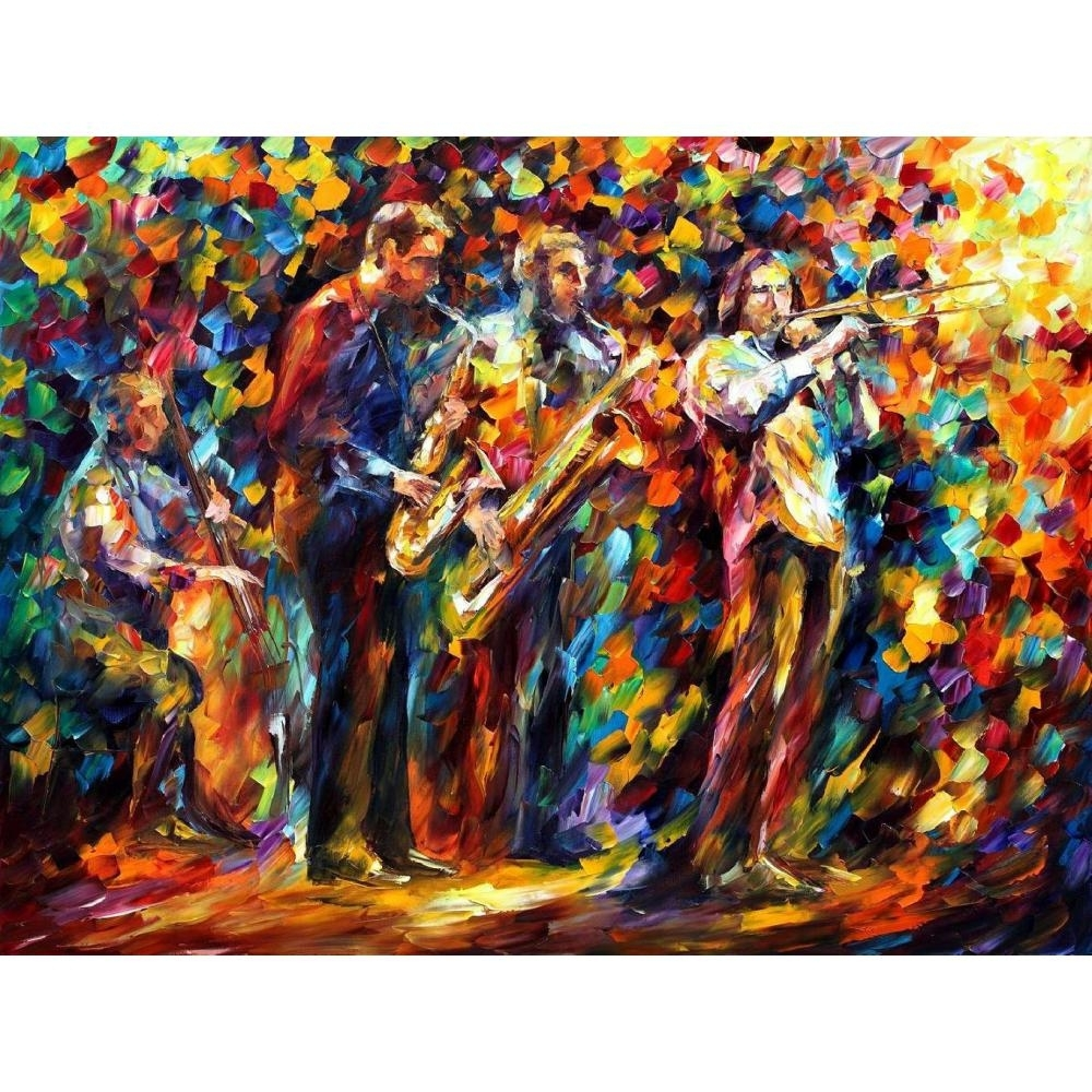 Handmade Canvas Wall Pictures Pop Art Jazz Band Palette Knife Oil With 2018 Abstract Jazz Band Wall Art (Gallery 8 of 20)