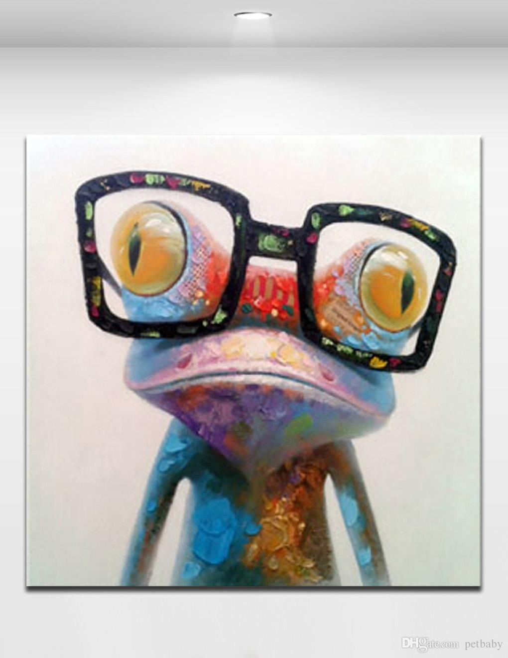 Happy Frog Wearing Glasses Cartoon Animal Handpainted Oil Painting Throughout Recent Abstract Animal Wall Art (View 18 of 20)