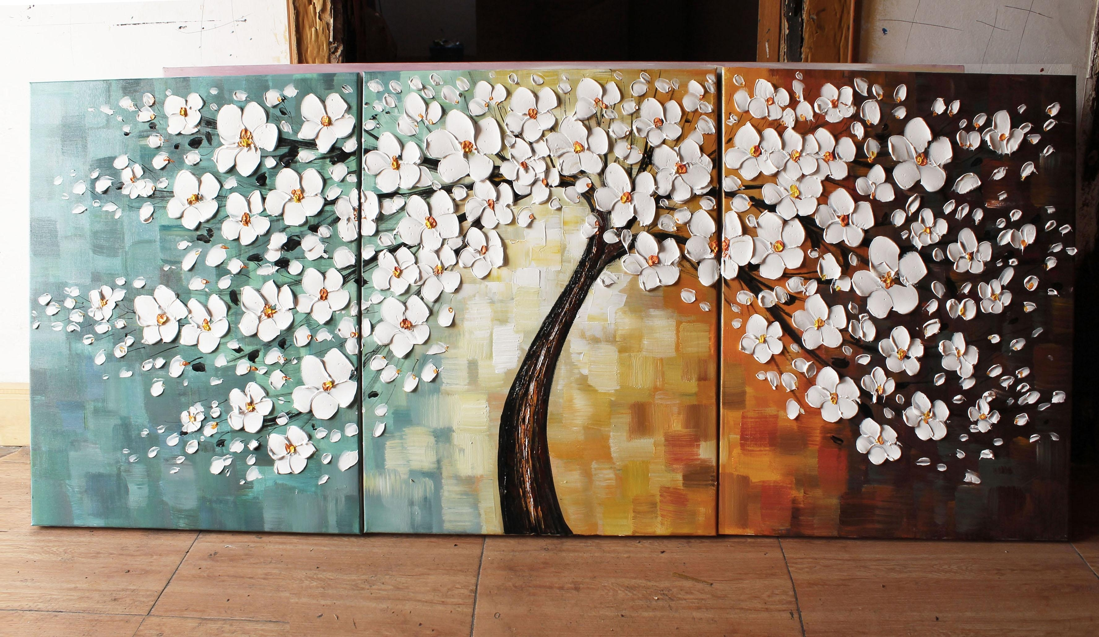 Happy Tree Group Canvas Art Wall Landscape Paintingmuseum Quality Inside Most Current Cherry Blossom Oil Painting Modern Abstract Wall Art (View 17 of 20)