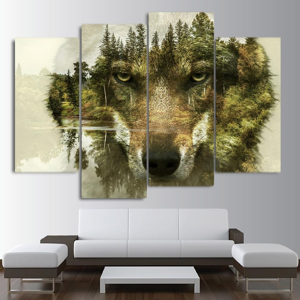 Hd Printed 5 Piece Canvas Art Abstract Animal Wolf Woods Painting Intended For Current Abstract Animal Wall Art (View 7 of 20)