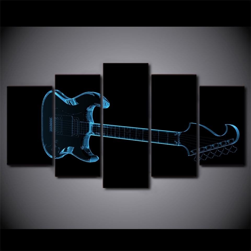 Hd Printed 5 Piece Canvas Art Music Abstract Guitar Painting Black For Current Abstract Neon Wall Art (View 12 of 20)