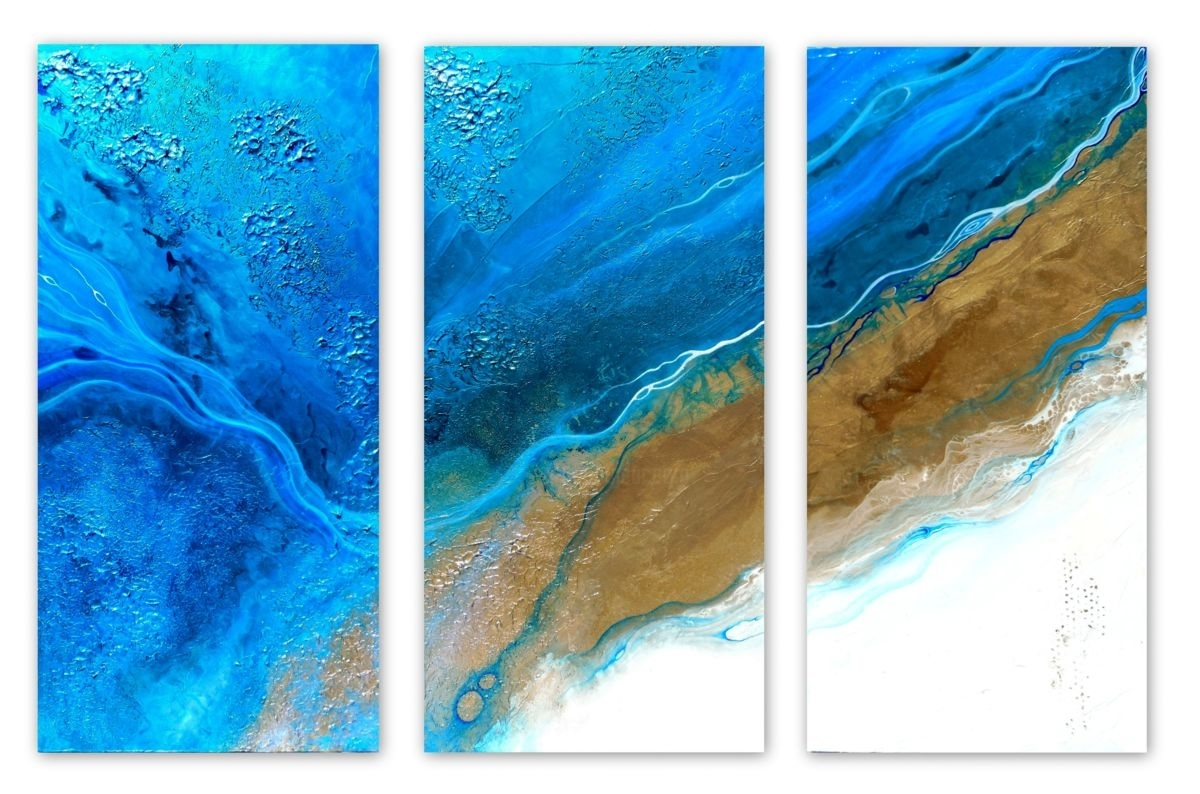 Healing Waters Triptych (Holly Anderson) Throughout Latest Abstract Beach Wall Art (View 13 of 20)