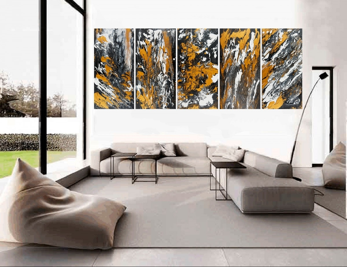 "Heart Of The Earthqiqigallery 60""x24"" Stretched Canvas Pertaining To Best And Newest Black And Gold Abstract Wall Art (View 5 of 20)"