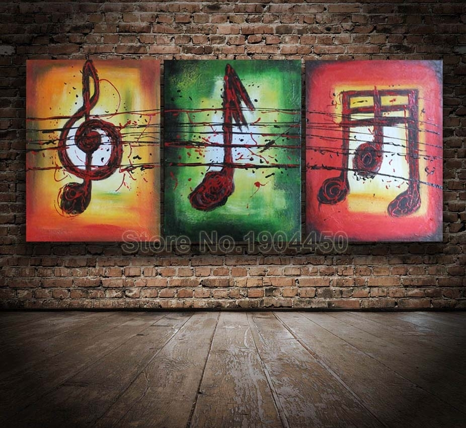 Hi Q Framed Hand Painted Oil Painting On Canvas Set Huge Abstract With Regard To Newest Abstract Music Wall Art (View 11 of 20)